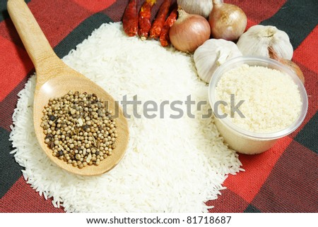 white rice and Food ingredients