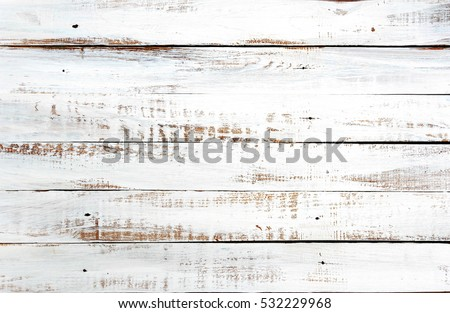 white rustic wood plank texture background. top view  #532229968