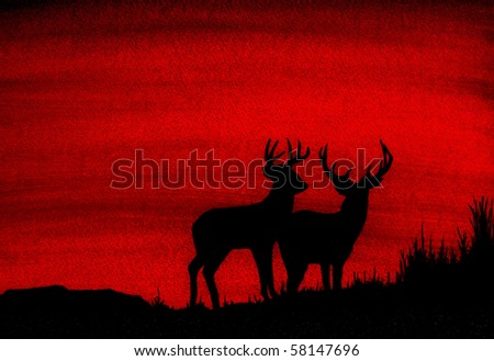 2 Whitetail Deer Silhouette