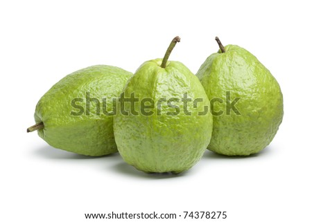 Whole fresh guava fruit on white background