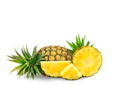 whole pineapple and pineapple slice. Pineapple with leaves isolate on white. Full depth of field. summer fruits, for a healthy and natural life,