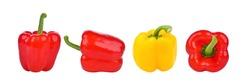 ฺWhole, red and yellow bell peppers isolated on white background.
