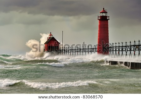 """Wicked Wind ""  Grand Haven Lighthouse , Grand Haven Michigan"