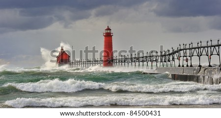 """ Wicked Wind""  Grand Haven Lighthouse - Grand Haven , Michigan"