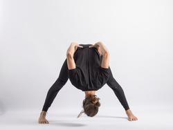 (28-104)Wide Stance Forward B (BendPrasarita Padottanasana B) Yoga Posture (Asana)