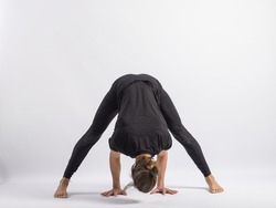 (27-104)Wide Stance Forward (BendPrasarita Padottanasana) Yoga Posture (Asana)