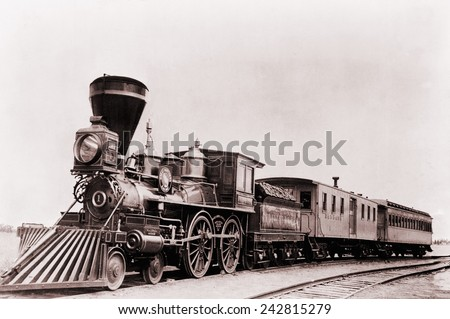'William Crooks' a 1861 locomotive of the Great Northern Railway with tender and cars. The tender is a special car to carry fuel and water to keep the locomotive running.