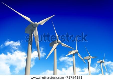 5 wind turbines on blue sky