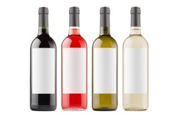 Wine bottles collection different colors with white blank labels isolated on white background, mock up. Template for advertising, design, branding identity.