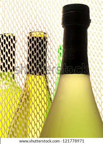 Wine Glassware Abstract background design made from  empty  wine bottles.