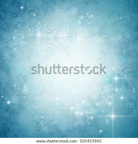 winter abstract background with bokeh lights, snowflakes and stars