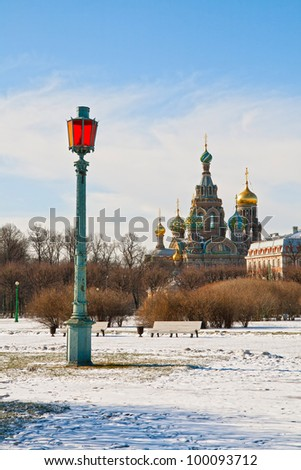 Winter city landscape with a view on the Temple of the Savior on Spilled Blood
