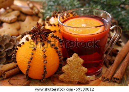 Winter drink with oranges and cloves