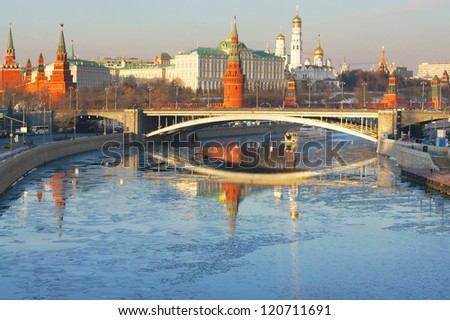 Winter in Moscow. View of the Kremlin and the Moscow River
