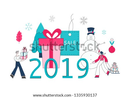 2019 winter sale concept with adult man holding presents, woman pulling sledge with shopping bags, purchases during store clearance and discounts background snowman christmas tree, present box.