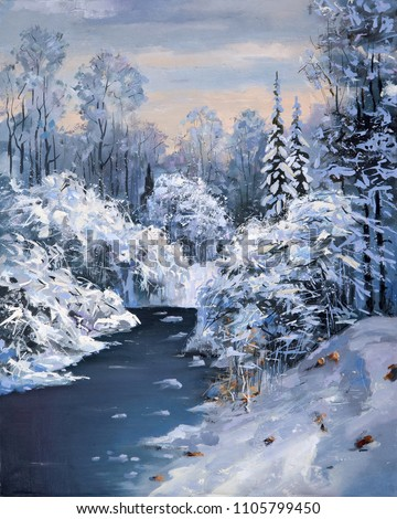 Winter thaw in a mountain forest. Artistic work in delicate colors. Painting: canvas, oil.