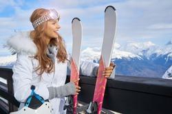 Winter woman portrait outdoors. Snow winter woman portrait outdoors on snowy white winter day