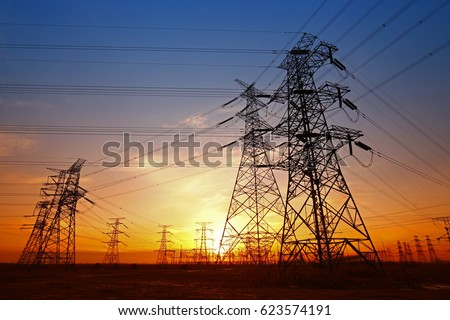 Wire electrical energy at sunset #623574191
