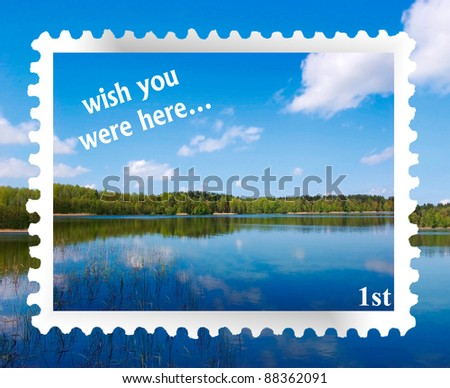 """""""wish you were here"""" at an idyllic lakeside location on a fake postage stamp"""