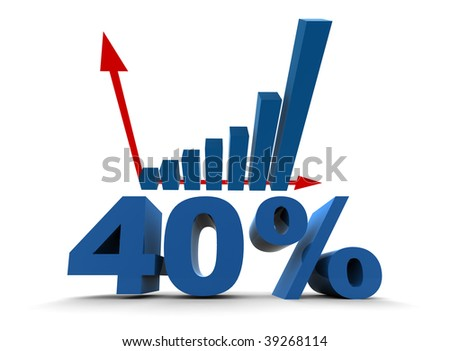 40% with increase diagram - isolated illustration