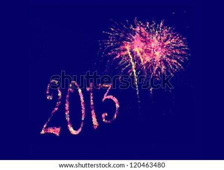 2013 with pink purple peach and yellow abstract fireworks for banner poster or card or party invitation for New Year's Day or New Year's Eve. Other versions square, Happy New Year, Feliz A�±o Nuevo.