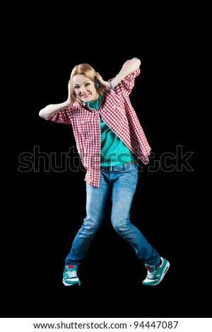 woman dancing hip-hop - stock photo