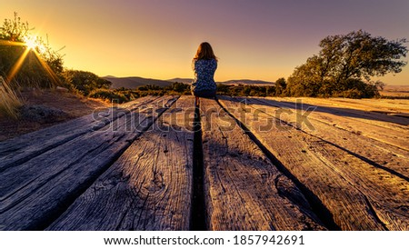105 / 5000 Woman from behind sitting on a wooden floor, contemplating the horizon with sunset in the field. Photo stock ©
