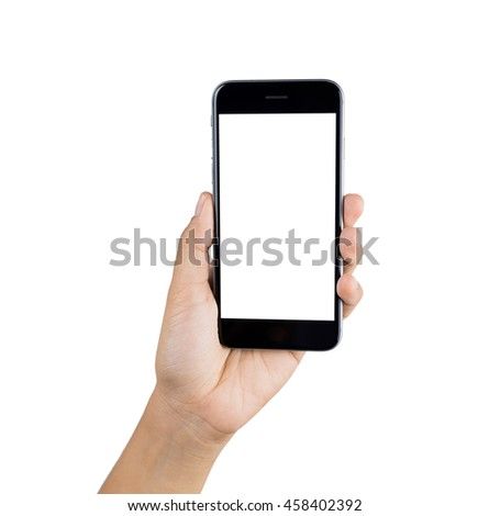 Woman hand using smart phone isolated on white background. #458402392