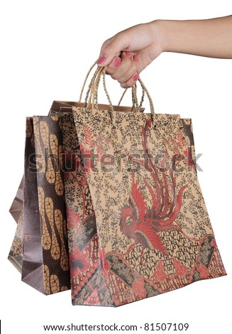 woman hand with shopping bags