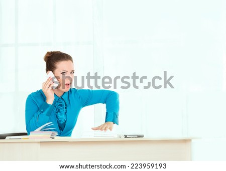Woman Head or manager talking on the phone, a serious conversation.