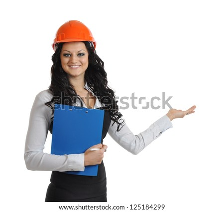 woman in a construction helmet with a smile upon the face and gesture of a hand invites, welcome. isolated on white