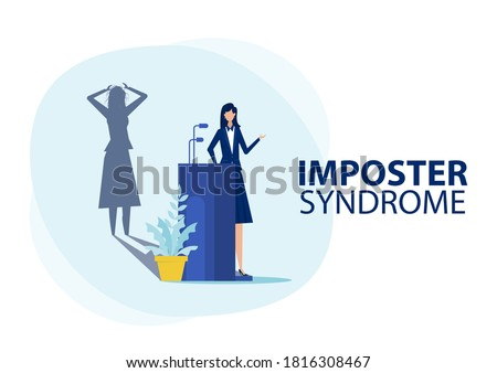 Woman Speak into Microphone.with fear shadow behind. Anxiety and lack of self confidence at work, Imposter syndrome concept