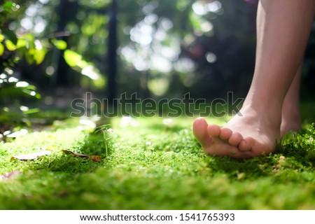 women bare feet walking on moss with sunlight