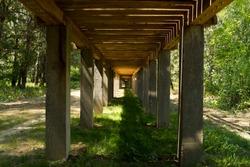 Wooden bridge on concrete poles underside in park