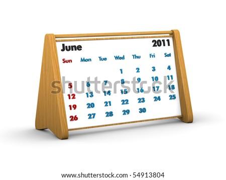 2011 wooden calendar - june