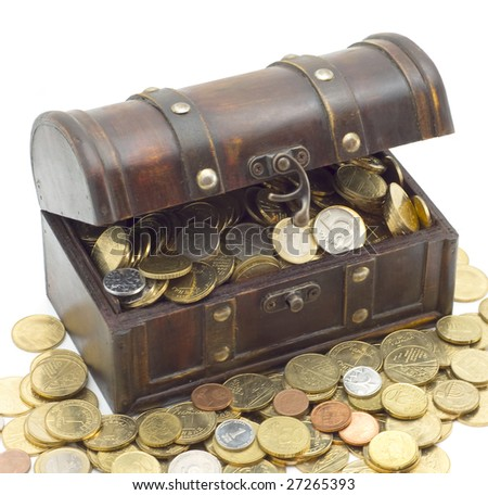 Wooden chest with coins inside isolated background