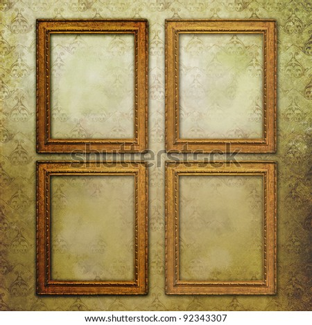4 wooden golden frames on a Victorian faded vintage texture
