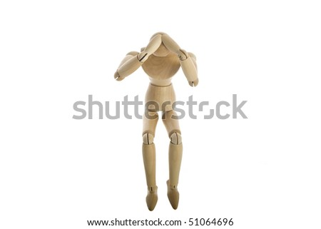 Wooden Mannequin with head ache
