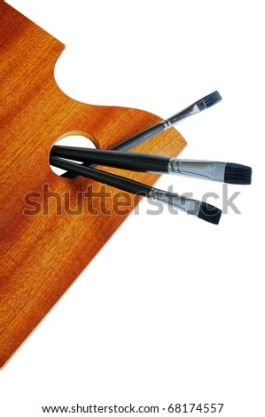 """""""wooden painter's palette with paintbrushes   """""""