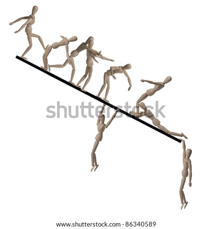 WOODEN PEOPLE FALLING