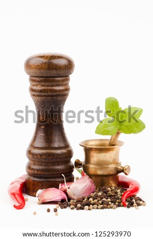 wooden salt shaker brass mortar with spices isolated on white