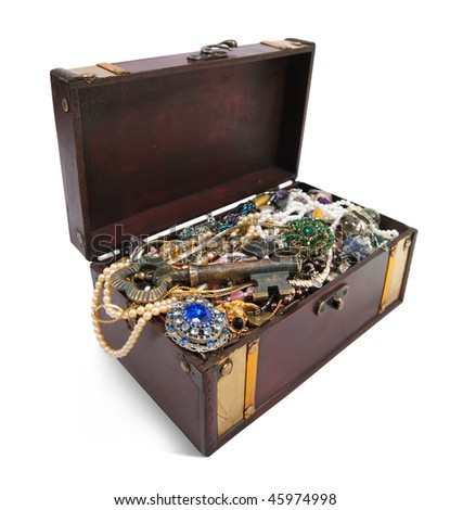 wooden treasure chest with valuables and key, isolated over white background