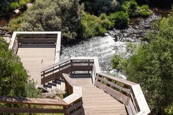 Wooden walkways at Paiva river, in Portugal. A kind of gallery, in wood, over the river to watch the power of the water flow. Pedestrian walkway, overlooking the Paiva river