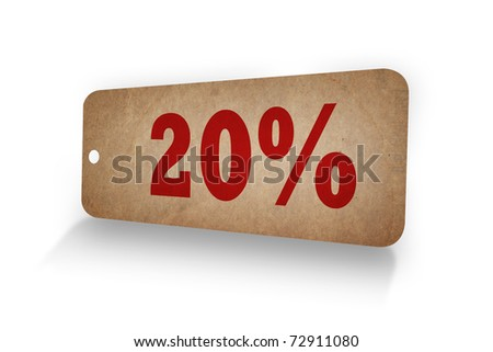 20% word in Old paper tag - stock photo