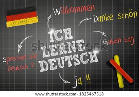 words and draws of the deutsch theme 'Ich lerne deutsch' means I learn Deutsch on chalkboard  Stock foto ©