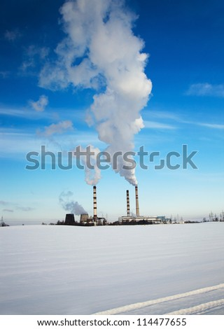 working chemical factory in a winter season. Belarus