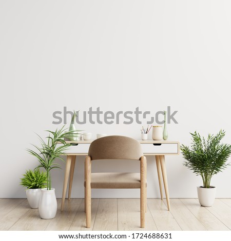 Workspace desk interior with mockup white wall, 3D Rendering