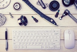 .Workspace of a car repair specialist. Online consultation. Car service blog. Order spare parts online.