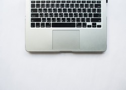 workspace with keyboard, minimal style and copy space.