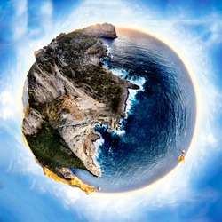 world ball effect from a cliff